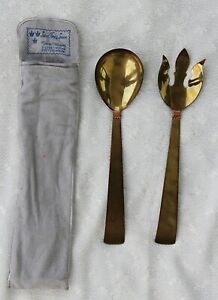 Vintage Three Crowns Brass Salad Fork and Spoon - Silversmiths Pottstown, PA