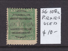 Victoria 1d Green Laureate Qv Used Sg 108a Perf 12 X 12.5