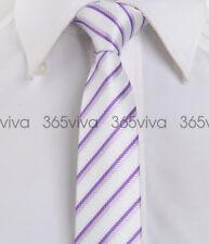 White Purple Stripe Skinny Slim Narrow Woven Silk 5 cm Neckwear Wedding Tie