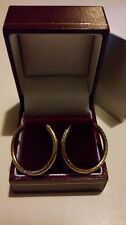 LOVELY 9ct Yellow Gold Diamond Cut Design 25mm Sleeper Hoop Earrings*****
