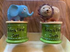 Baby's First Tooth And Curl Keepsake Set Fisher Price Elephant and Lion