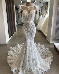 Gorgeous Lace Appliques Mermaid Wedding Dress White/Ivory Feather Bridal Gown