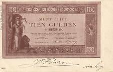 1903 VINTAGE NETHERLANDS 10 GULDEN BANKNOTE POSTCARD USED Voorstraat Oude Tonge