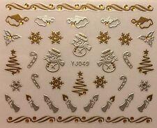 Nail Art 3D Decal Stickers Christmas Tree Snowman Santa Hat Snowflake YJ049
