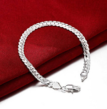 Mens Womens 925 Sterling Silver Plated 5mm Snake Link Chain Bracelet #B334