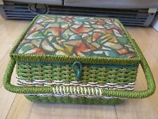 Vintage Made for Singer Wicker Sewing Basket Satin Interior EXCELLENT CONDITION