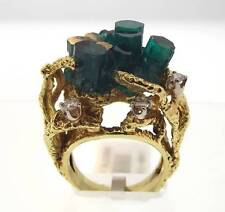 18KT YELLOW GOLD 25.47 CTTW EMERALD & DIAMOND RING SIZE 6 CERT (7R 140-10630)