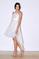 Tea Length Bridal Dress - Desiged with silver lurex lace. Handmade In The Uk