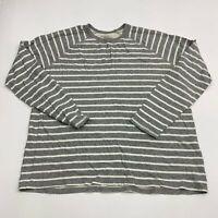 Merona T Shirt Men's 2XL XXL Long Sleeve Gray White Striped Crew Neck Cotton