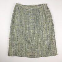 Pendleton Pencil Skirt Size 14 Petite 100% Silk Chunky Tweed Mint Green Lined