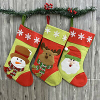 3X Christmas Stockings Candy Gift Bags with Hanging Hoop Santa Claus Snowman