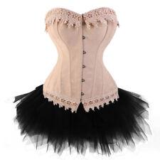 Wedding gift Burlesque Basques Corset +Tutu/Skirt Dress Costume Outfit Shaper US
