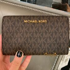 8a234d9d1fd8 Michael Kors Jet Set Travel Slim Bifold MK Signature Wallet Brown