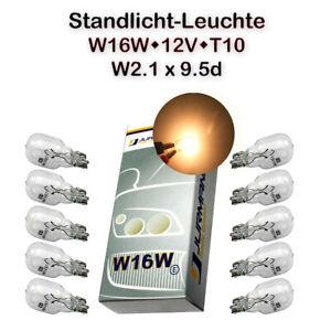10x Jurmann W16W 12V W2,1x9,5D 16W Weiß Standard Glassockel Halogen Lampe
