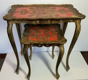 Pair Of MCM Trade Mark Ornate Italian Accent Side Tables, Made in Italy