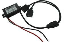 12v To 5v/3A In car Use Hard Wire Adapter Power Cord Cable 2 USB Connector