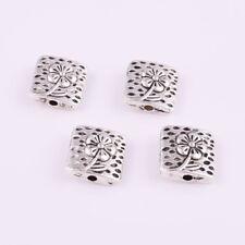 12pcs Tibetan Silver Nice Flower Square Spacer Beads 10x10mm DIY