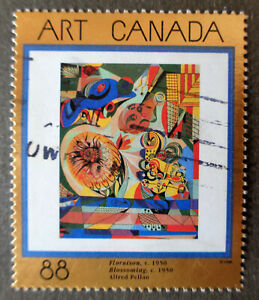 CANADA#1545 used 1995 gold-foil Floraison painting by Pellan. Combined shipping
