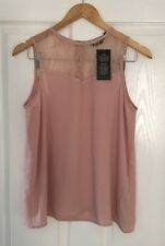 NEW LOOK DUSTY PINK LACE / STUD BLOUSE TOP 10 BNWT