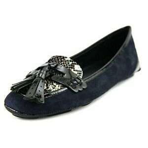 Elie Tahari Women's Reese women US 7.5 Blue Suede Leather Flats Loafer Shoes