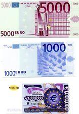 Banconota 1000 Euro 5000 Euro e 1000000 Euro - Per Collezionisti