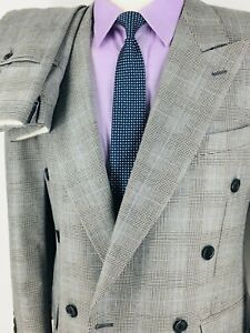38S Samuelsohn Mens Pure Wool Double Breasted Suit Glen Check Canada Pants 32