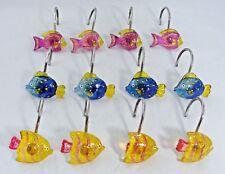 Fish Resin Shower Curtain Hooks Pink Gold Blue (Set of 12)