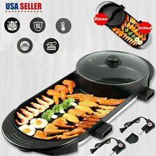 Portable Electric 2 in1 Hot Pot Barbecue Grill Non-Stick Teppanyaki Pan Soup Pot