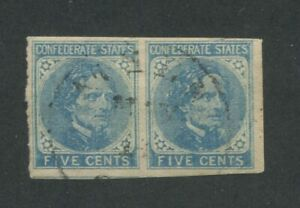 1862 Confederate States of America Stamp #6 Used Pair Faded Postal Cancel