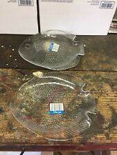 Set of 2 Arcoroc France Clear Glass Fish Plates  10 x 8 1/2 New Old Stock