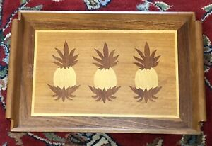 Vintage Wooden Inlaid Pineapple Tray W/ Handles Philippines