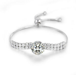 Sparking Fire Full Round White Topaz Gems Silver Slide Bracelets Adjustable Size