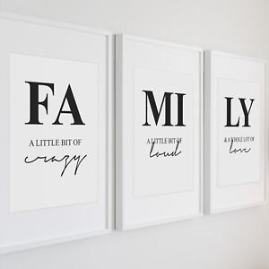 3er Set Family Bild Poster Kunstdruck A4 Familie Spruch Liebe Deko Typografie