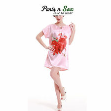 Womens Pink Rose Print Silk Feel Sleeveless Chemise Nightie Ladies Sleepwear