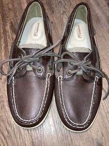Sperry Top-Sider Women's Boat Shoes Beige & Brown Leather Sz 6.5M Lightly Worn