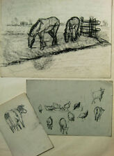 Drei Blätter mit Tierstudien, Nachlass G.van Pelt um 1900