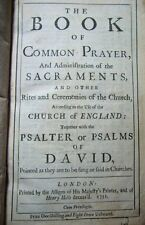 Rare 1731 Book of Common prayer Sacraments Psalms Christian Church Religion