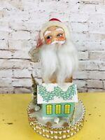 Vintage Rotating Light Up Christmas Santa Music Box JAPAN Putz House Glitter