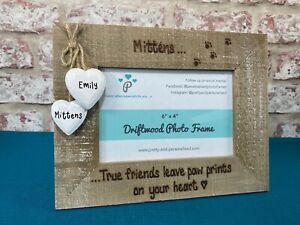 Dog Cat Memorial Gift   Paw Prints On Heart Quote   Personalised Frame Driftwood