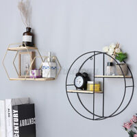 Iron Metal Wall Shelf Rack Hanging Storage Craft Round Industrial Style For