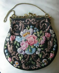 Antique Gold Jeweled Frame Pearl & Jewel Frame Floral Silk Petit Point Purse