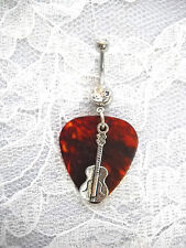 Charm On Clear Cz Belly Button Ring Custom Brown Guitar Pick w Classical Guitar