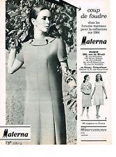 PUBLICITE ADVERTISING  1966   MATERNA  pret à porter collection future maman