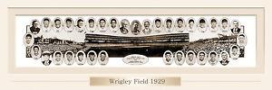 VINTAGE 1929 WRIGLEY FIELD  PRINT 11.750 X 36  W/DOUBLE FAUX MATTE