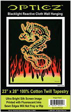 FIRE DRAGON - BLACKLIGHT FABRIC POSTER - 23x28 WALL HANGING TAPESTRY BLF39