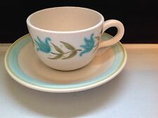 Franciscan Earthenware Tulip Time Flat Cup & Saucer White Turquoise Green Flower