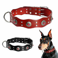 Genuine Leather Large Dog Collars with D-ring for Labrador Pitbull Doberman