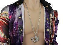 Fun Men Fashion Necklace Silver Metal Chain Charm Devil Skeleton Pendant Jewelry