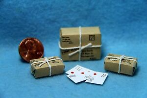 Dollhouse Miniature Mail Set Adressed and Stamped Letters and Packages IM65483