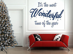 The Most Wonderful Time of the Year, Christmas Wall Art Sticker. Window, Mirror